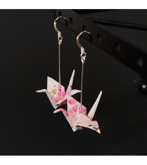 Pink origami cranes Earrings. Silver.