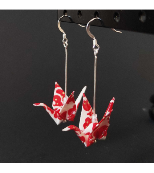 Red and white origami cranes Earrings. Silver.