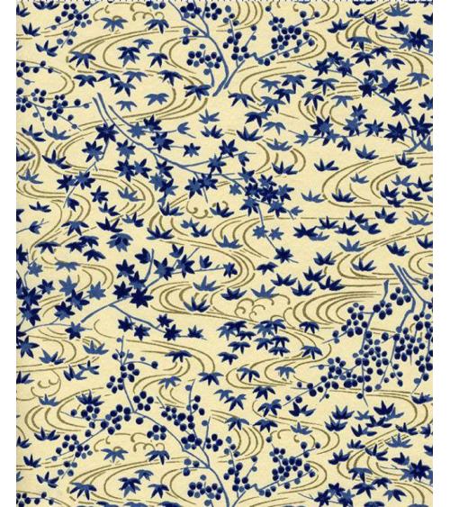 Papel Chiyogami de motivos vegetales en azul sobre fondo beige