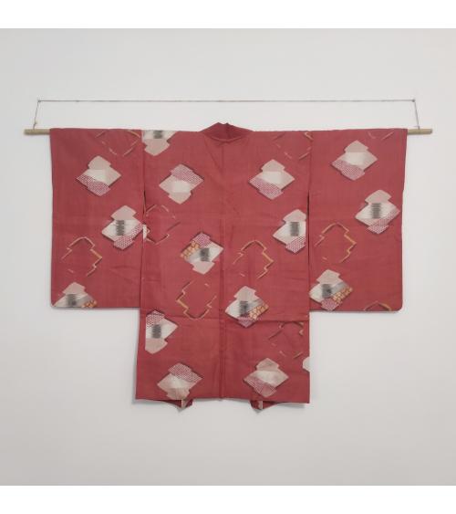 Haori vintage rojo con estampado geométrico