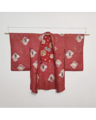 Meisen red vintage Haori inJapanese silk, with geometric Japanese pattern