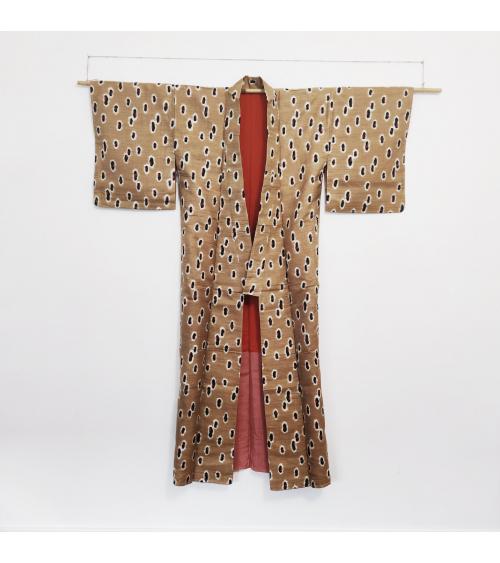 Japanese vintage Kimono 'meisen' animal print
