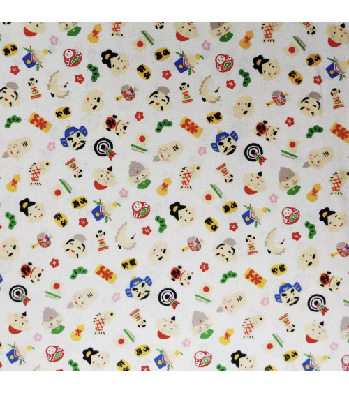 "Japanese ""Fuku"" (luck) fabric in natural white"