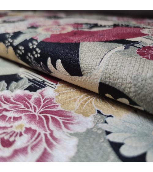 Tela Japonesa grullas y flores en negro en chirimen de algodón.