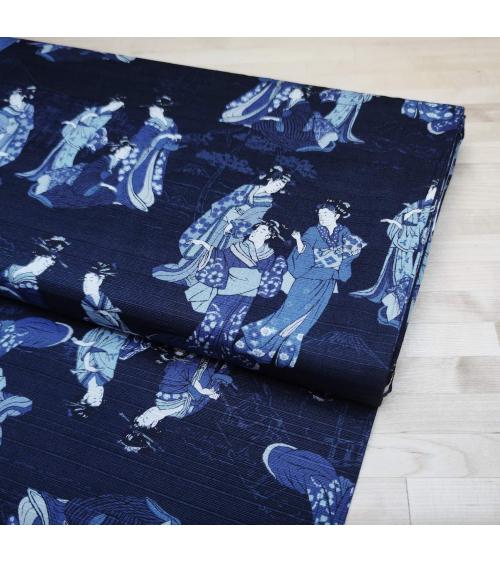 "Tela japonesa. Dobby ""Ukiyo-e"" en azules"