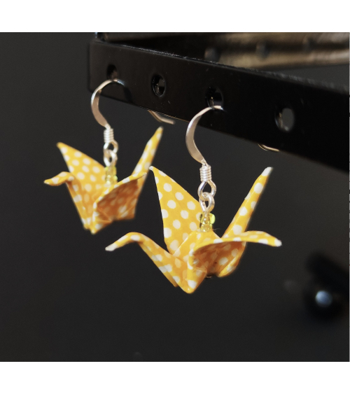 Pendientes grullas origami amarillos en plata