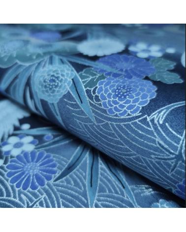 Tela japonesa de algodón de grullas con detalles en plata.