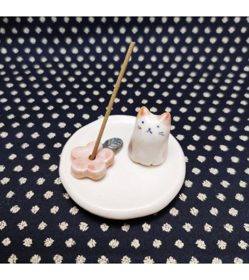 Portaincienso de cerámica con gatito y sakura