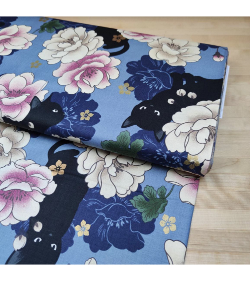 Japanese fabric. Black cats and Peonies over blue.