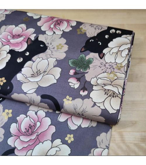 Japanese fabric. Black cats and Peonies over mauve.
