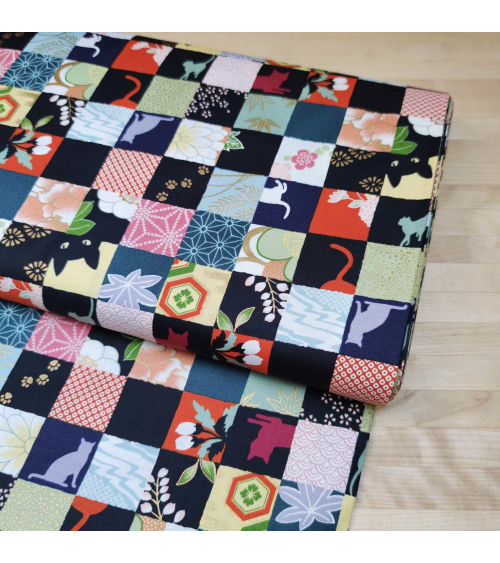 Japanese fabric. Cats Patchwork in bright colours.