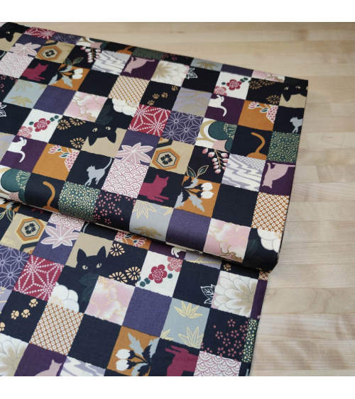 Japanese fabric. Cats Patchwork in subdued colours.