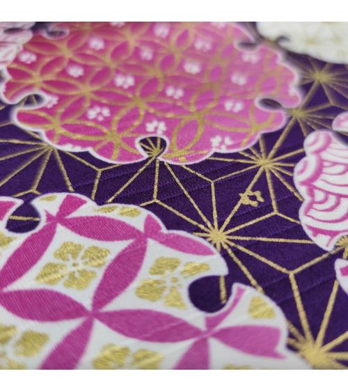 "Japanese satin cotton fabric ""Yuki"" over violet."
