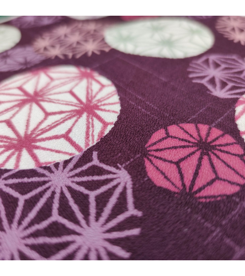 "Japanese cotton fabric ""Asanoha circles"" in burgundy."
