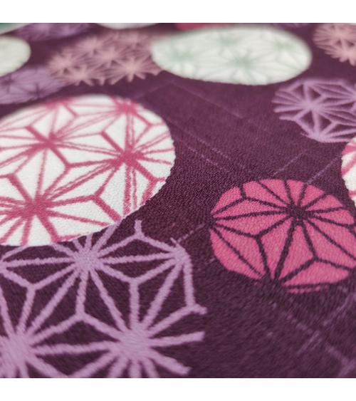 "Tela japonesa en algodón ""Asanoha circles"" en burdeos."