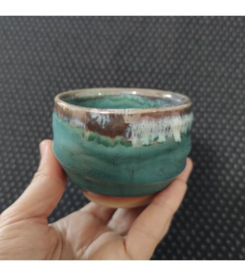Bluish-green Japanese tea bowl