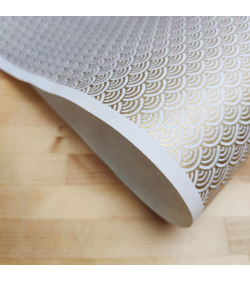 Chiyogami Japanese paper, golden seigaihas over white
