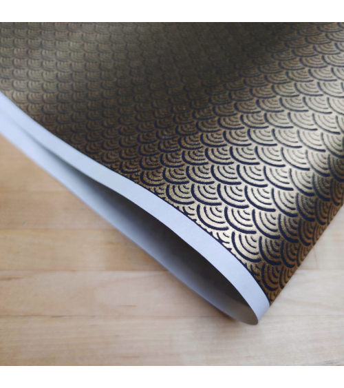 Chiyogami Japanese paper, golden seigaihas over black