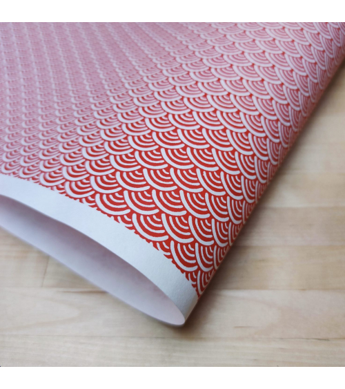 Chiyogami Japanese paper, red seigaihas over white