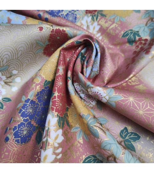 Tela japonesa de algodón glicinias en rosa.
