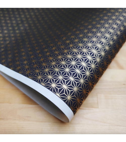 Chiyogami Japanese paper, golden large asanoha over black