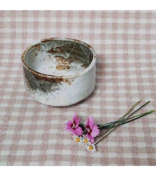 Japanese white matcha tea bowl.