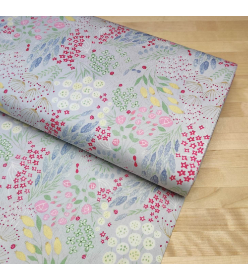 """Japanese cotton sheer fabric """"Flower meadow""""."""