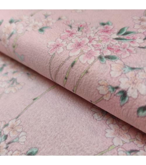 'Shidare Sakura' Japanese soft pink fabric on cotton chirimen.