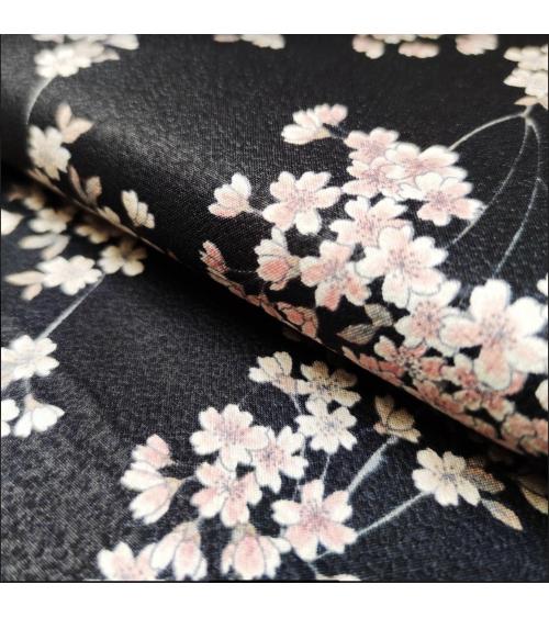 'Shidare Sakura' Japanese black fabric on cotton chirimen.