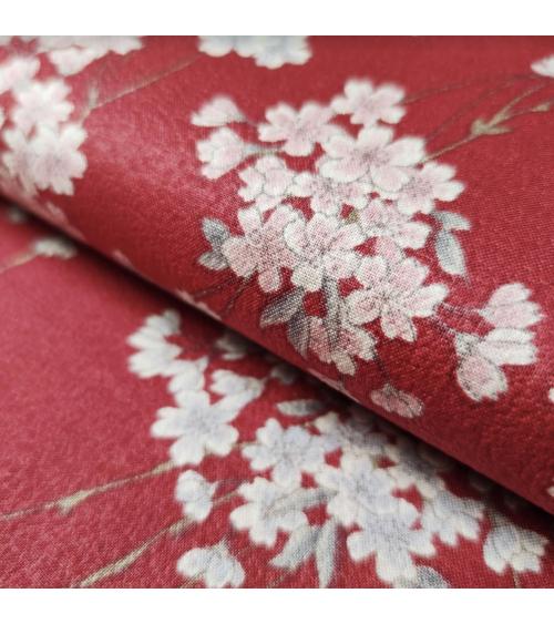 'Shidare Sakura' Japanese red fabric on cotton chirimen.