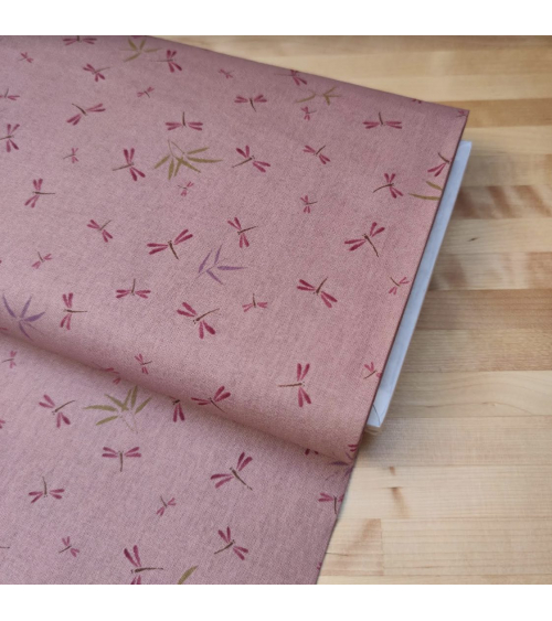 Japanese fabric. Dragonflies and bamboo over old rose