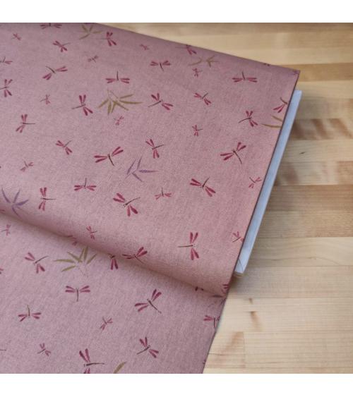 Tela japonesa. Libélulas y bambú en rosa viejo