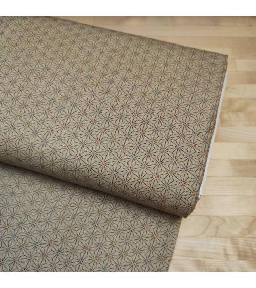 Japanese fabric. Asanoha in tan color.