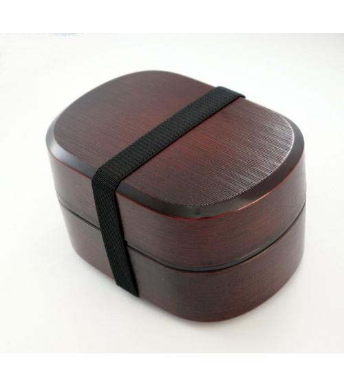 Bento box (Lunch box) elegante textura madera ovalado