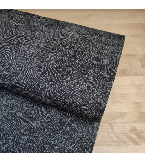 "Japanese fabric tiny dots ""Nami"" in Black."