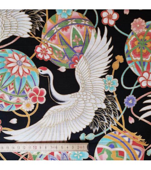 "Japanese fabric in Dobby cotton ""Cranes XL and temari"" black"