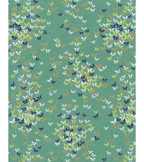 Papel Chiyogami pequeñas mariposas sobre fondo verde