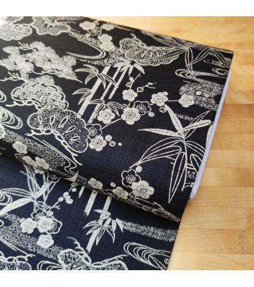 Japanese Rustic Indigo fabric 'Sho chiku bai' in black