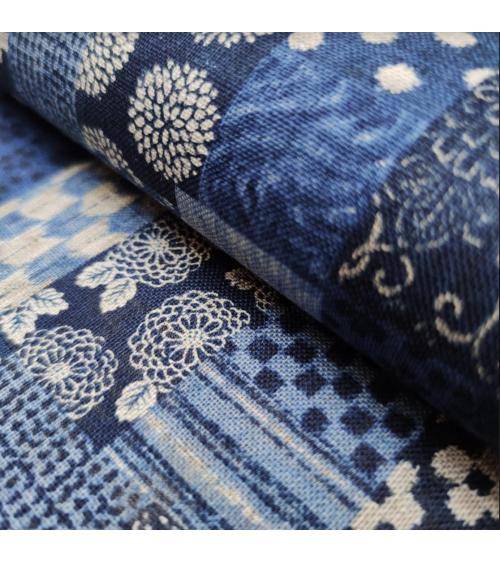 Japanese fabric Rustic Indigo. 'Boro II' in shades of blue