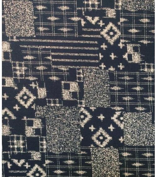 Japanese cotton fabric. Boro over indigo blue