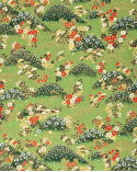 Papel Chiyogami montañas y flores sobre fondo verde.