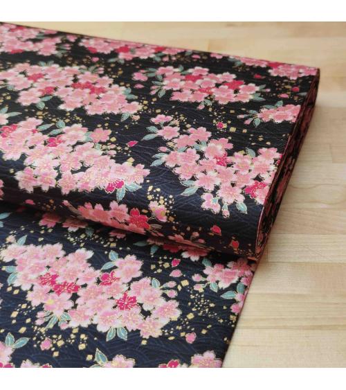"""Tela japonesa en Satin de algodón """"Sakuras"""" negro."""