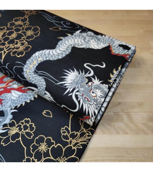 """Tela dobby japonés """"Dragones"""" en negro."""