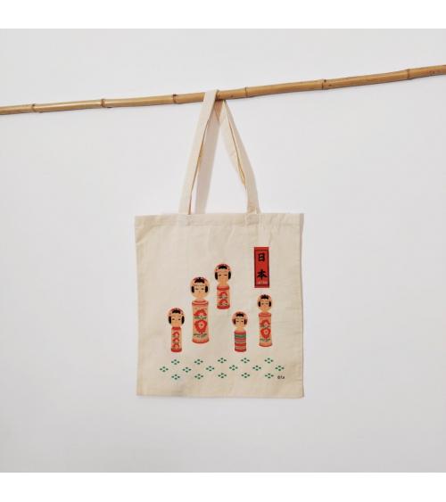 "Bolsa tote bag de algodón ""Kokeshi"""