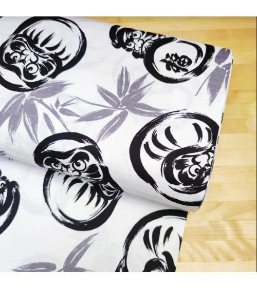 """Japanese dobby fabric """"Darumas"""" in white"""