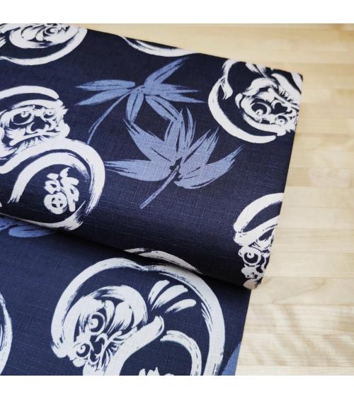 "Japanese dobby fabric ""Daruma"" in dark blue"