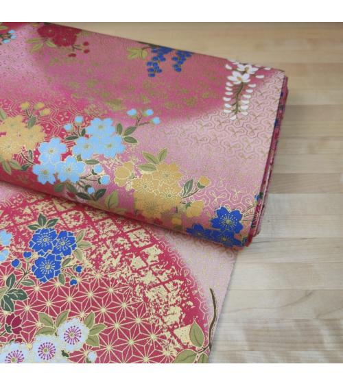 Tela japonesa de algodón glicinias en rosa fuerte.