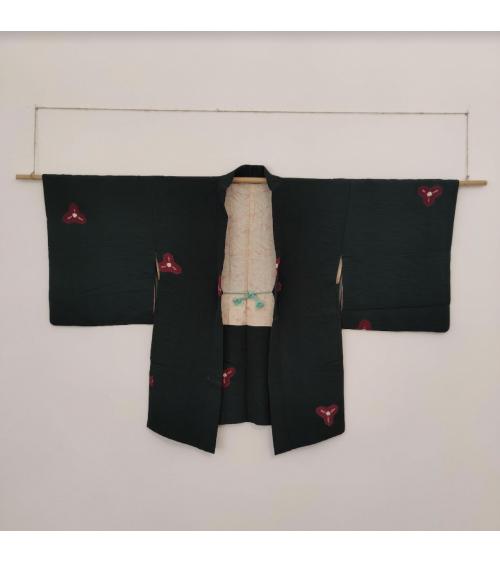 Vintage haori in fir green with shibori motif.