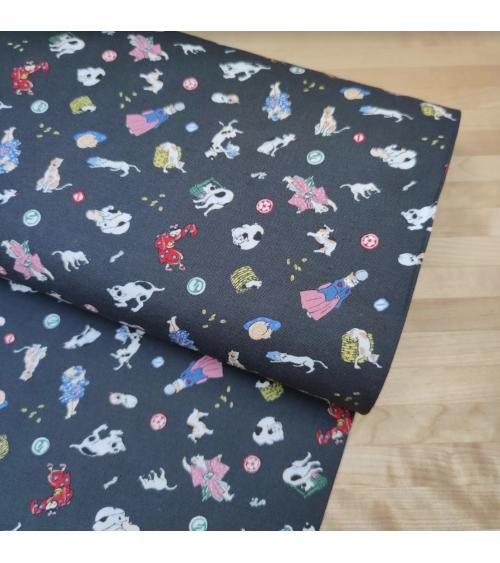 Japanese Fabric 'Edo cats' over grey background.