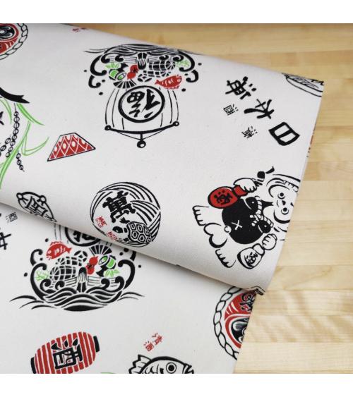 "Japanese cotton canvas ""Good fortune"" on ecru background"